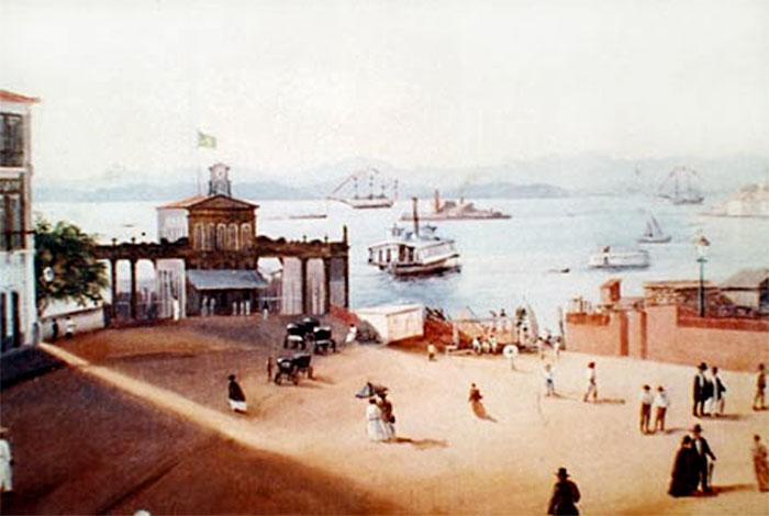 Estação Ferry na Praça XV, em seu aspecto original de 1862