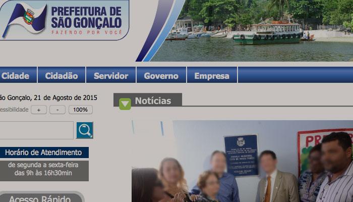 Site da Prefeitura de São Gonçalo