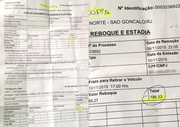 """Primeira guia gerada pela TransGuard, cobrando o valor de duas """"estadias""""."""