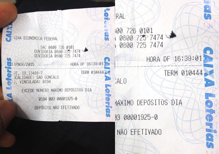 Papel da Loteria com horário que tentei fazer o pagamento