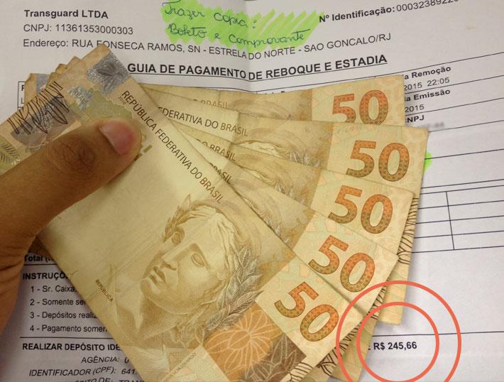 Nova guia gerada pela Transguard – um absurdo da Prefeitura de São Gonçalo que colabora com essas empresas.
