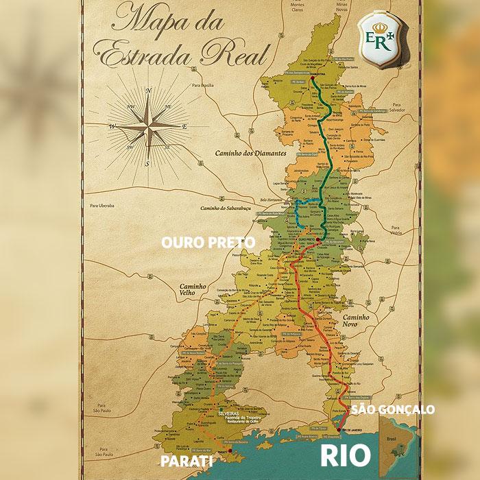 Rota do Ouro que trazia os metais preciosos de Minas Gerais para o Rio de Janeiro.