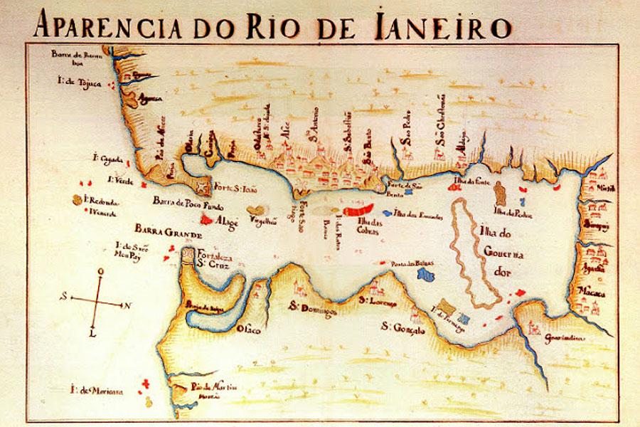 Aparência do Rio de Janeiro em mapa da época.