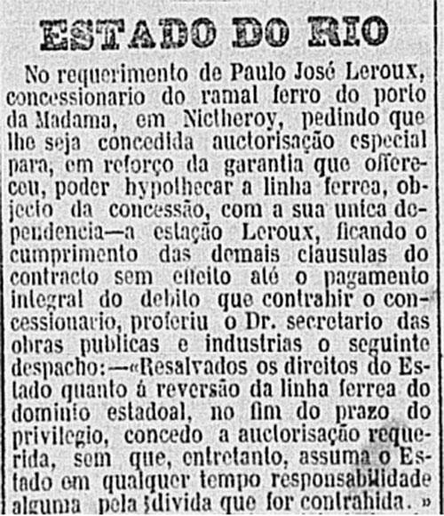 Pedido de hipoteca do ramal Porto da Madama Gazeta de Notícias. 09.07.1898, p.2