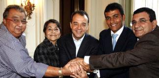 Rafael do Gordo e José Luiz Nanci com Graça Matos, Sérgio Cabral e Eduardo Gordo