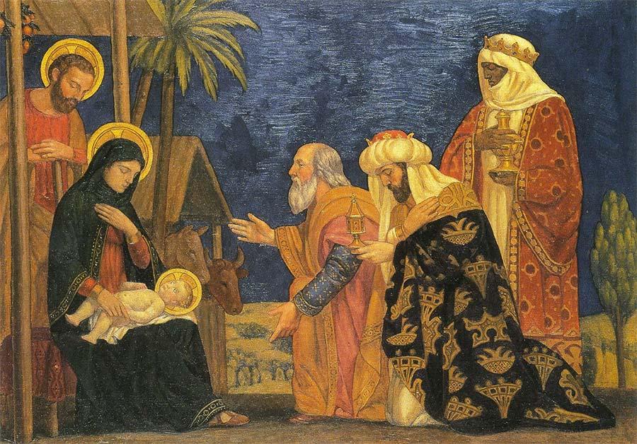 Os 3 reis magos entregam seus presentes ao menino Jesu em seu nascimento.