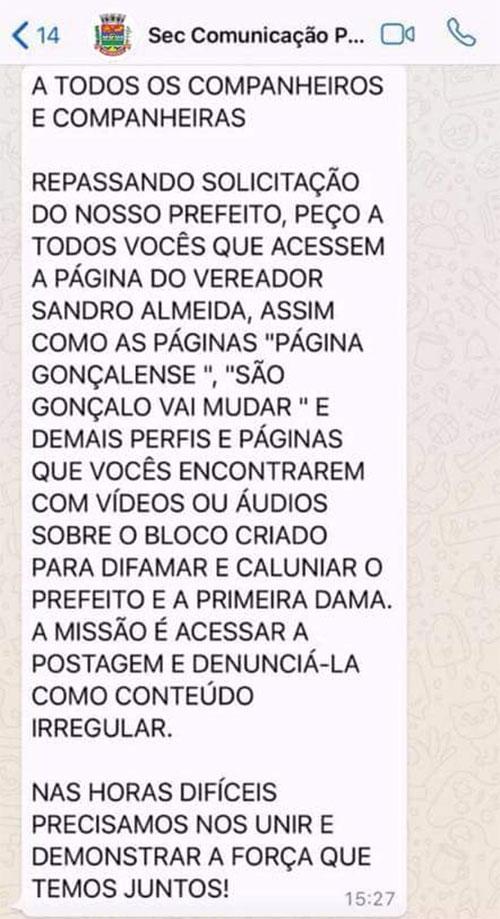 """Menagem da Secretaria de Comunicação Municipal de São Gonçalo, em janeiro de 2018, sobre o bloco """"Quem Manda é a Mulher""""."""